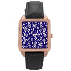 Star Flower Blue White Rose Gold Leather Watch  by Mariart