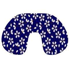 Star Flower Blue White Travel Neck Pillows by Mariart