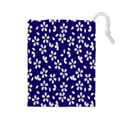 Star Flower Blue White Drawstring Pouches (large)  by Mariart