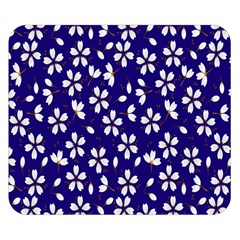 Star Flower Blue White Double Sided Flano Blanket (small)  by Mariart