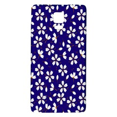 Star Flower Blue White Galaxy Note 4 Back Case by Mariart