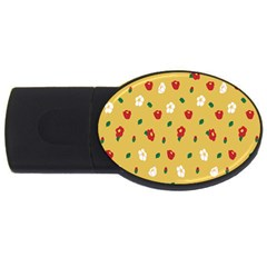Tulip Sunflower Sakura Flower Floral Red White Leaf Green Usb Flash Drive Oval (4 Gb) by Mariart