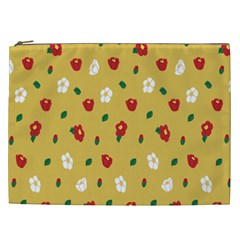 Tulip Sunflower Sakura Flower Floral Red White Leaf Green Cosmetic Bag (xxl)  by Mariart