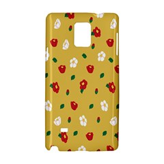 Tulip Sunflower Sakura Flower Floral Red White Leaf Green Samsung Galaxy Note 4 Hardshell Case by Mariart