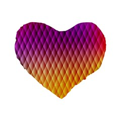 Triangle Plaid Chevron Wave Pink Purple Yellow Rainbow Standard 16  Premium Flano Heart Shape Cushions by Mariart