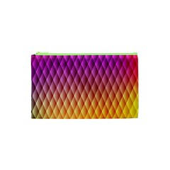 Triangle Plaid Chevron Wave Pink Purple Yellow Rainbow Cosmetic Bag (xs) by Mariart