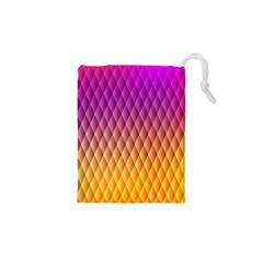 Triangle Plaid Chevron Wave Pink Purple Yellow Rainbow Drawstring Pouches (xs)  by Mariart