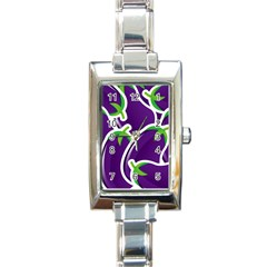 Vegetable Eggplant Purple Green Rectangle Italian Charm Watch by Mariart