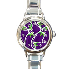 Vegetable Eggplant Purple Green Round Italian Charm Watch by Mariart