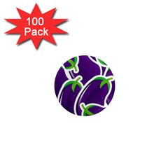Vegetable Eggplant Purple Green 1  Mini Magnets (100 Pack)  by Mariart