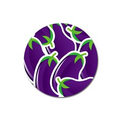 Vegetable Eggplant Purple Green Magnet 3  (round) by Mariart