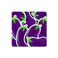 Vegetable Eggplant Purple Green Square Magnet by Mariart