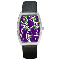 Vegetable Eggplant Purple Green Barrel Style Metal Watch by Mariart