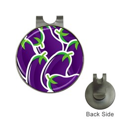 Vegetable Eggplant Purple Green Hat Clips With Golf Markers by Mariart