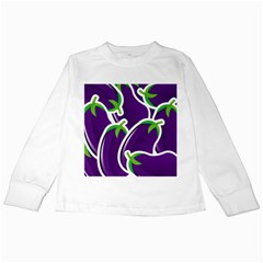 Vegetable Eggplant Purple Green Kids Long Sleeve T Shirts by Mariart
