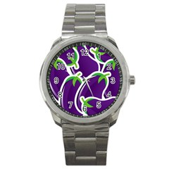 Vegetable Eggplant Purple Green Sport Metal Watch by Mariart