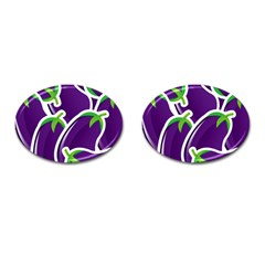 Vegetable Eggplant Purple Green Cufflinks (oval) by Mariart