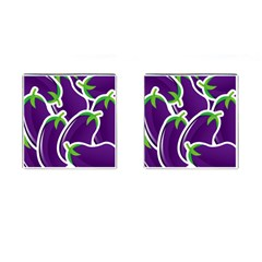 Vegetable Eggplant Purple Green Cufflinks (square) by Mariart