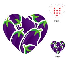 Vegetable Eggplant Purple Green Playing Cards (heart)  by Mariart