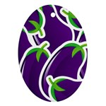 Vegetable Eggplant Purple Green Oval Ornament (Two Sides) Front