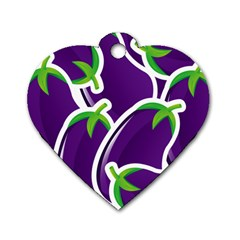 Vegetable Eggplant Purple Green Dog Tag Heart (one Side) by Mariart