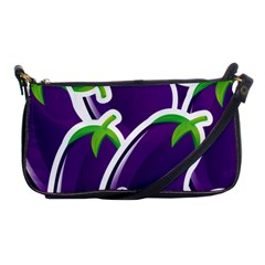 Vegetable Eggplant Purple Green Shoulder Clutch Bags by Mariart