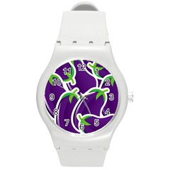Vegetable Eggplant Purple Green Round Plastic Sport Watch (m) by Mariart