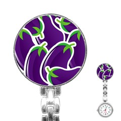 Vegetable Eggplant Purple Green Stainless Steel Nurses Watch by Mariart