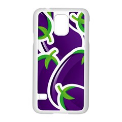 Vegetable Eggplant Purple Green Samsung Galaxy S5 Case (white)