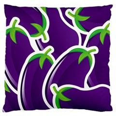 Vegetable Eggplant Purple Green Large Flano Cushion Case (two Sides) by Mariart