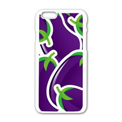 Vegetable Eggplant Purple Green Apple Iphone 6/6s White Enamel Case by Mariart