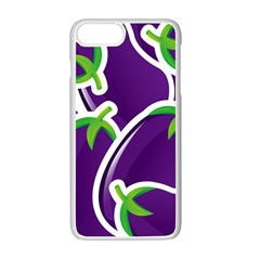 Vegetable Eggplant Purple Green Apple Iphone 7 Plus White Seamless Case by Mariart