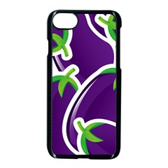 Vegetable Eggplant Purple Green Apple Iphone 7 Seamless Case (black) by Mariart
