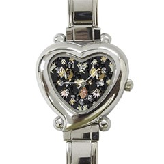 Traditional Music Drum Batik Heart Italian Charm Watch by Mariart