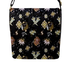 Traditional Music Drum Batik Flap Messenger Bag (l)  by Mariart