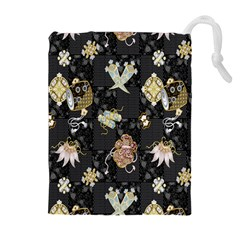 Traditional Music Drum Batik Drawstring Pouches (extra Large) by Mariart