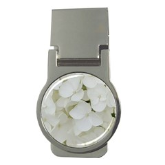 Hydrangea Flowers Blossom White Floral Photography Elegant Bridal Chic  Money Clips (round)  by yoursparklingshop