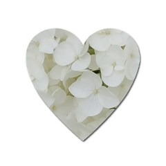Hydrangea Flowers Blossom White Floral Photography Elegant Bridal Chic  Heart Magnet by yoursparklingshop