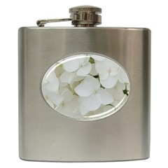 Hydrangea Flowers Blossom White Floral Photography Elegant Bridal Chic  Hip Flask (6 Oz) by yoursparklingshop