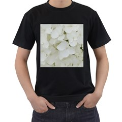 Hydrangea Flowers Blossom White Floral Photography Elegant Bridal Chic  Men s T Shirt (black) (two Sided) by yoursparklingshop