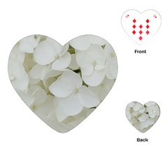 Hydrangea Flowers Blossom White Floral Photography Elegant Bridal Chic  Playing Cards (heart)  by yoursparklingshop