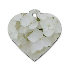 Hydrangea Flowers Blossom White Floral Photography Elegant Bridal Chic  Dog Tag Heart (two Sides) by yoursparklingshop