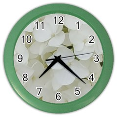 Hydrangea Flowers Blossom White Floral Photography Elegant Bridal Chic  Color Wall Clocks by yoursparklingshop