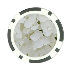 Hydrangea Flowers Blossom White Floral Photography Elegant Bridal Chic  Poker Chip Card Guard by yoursparklingshop