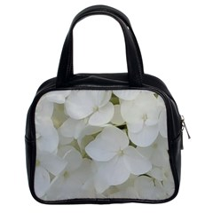 Hydrangea Flowers Blossom White Floral Photography Elegant Bridal Chic  Classic Handbags (2 Sides) by yoursparklingshop