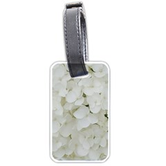Hydrangea Flowers Blossom White Floral Photography Elegant Bridal Chic  Luggage Tags (one Side)  by yoursparklingshop