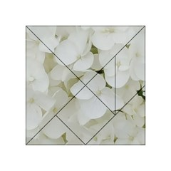 Hydrangea Flowers Blossom White Floral Photography Elegant Bridal Chic  Acrylic Tangram Puzzle (4  X 4 ) by yoursparklingshop
