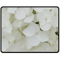 Hydrangea Flowers Blossom White Floral Photography Elegant Bridal Chic  Double Sided Fleece Blanket (medium)  by yoursparklingshop