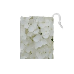 Hydrangea Flowers Blossom White Floral Photography Elegant Bridal Chic  Drawstring Pouches (small)  by yoursparklingshop