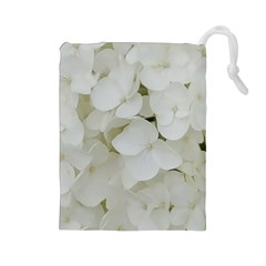 Hydrangea Flowers Blossom White Floral Photography Elegant Bridal Chic  Drawstring Pouches (large)  by yoursparklingshop
